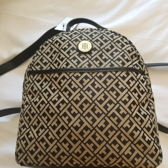 TOMMY HILFIGER Small Monogram Fabric Backpack Black